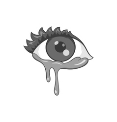 Crying eyes icon black monochrome style vector