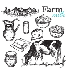 Cow And Nature Milk Sketch vector image