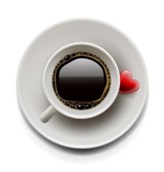 Cup of coffee top view valentines day vector