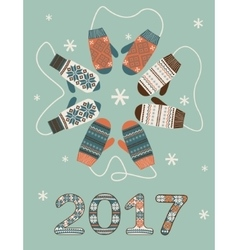 Happy new year 2017 decoration vector