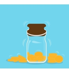 Piggy bank with falling gold coins - contribution vector