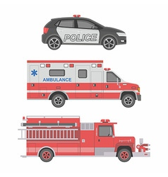 Police ambulance car and fire truck vector