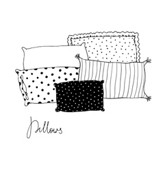 Beautiful pillows on a white background vector