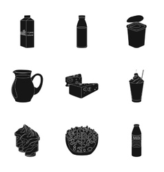 Milk product and sweet set icons in black style vector