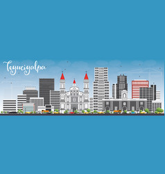 Tegucigalpa skyline with gray buildings and blue vector
