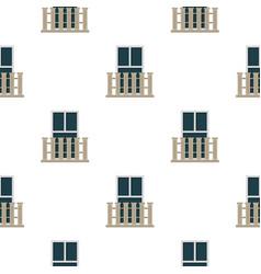 Balcony balustrade with window i pattern flat vector