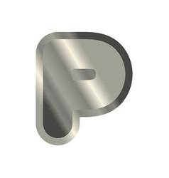 letter p steel font metal alphabet sign iron abc vector image