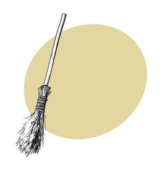 Single old twig broom broomstick traditional vector