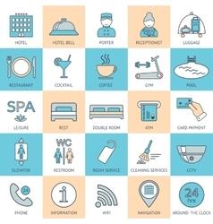 25 line hotel services icons color block logo vector