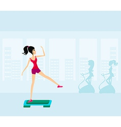 Exercise on aerobic step vector