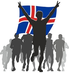 Athlete with the iceland flag at the finish vector