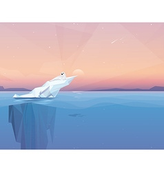 Harp seal on a melting iceberg vector