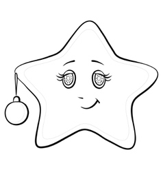 smiley star with christmas ball contours vector image