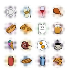 Food comics icons set vector
