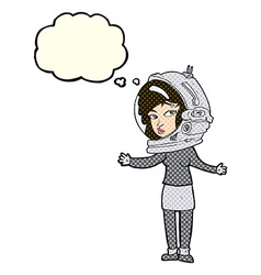 Cartoon woman wearing astronaut helmet with vector