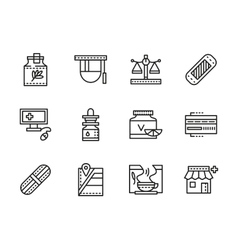 Medical black line icons pharmacy vector