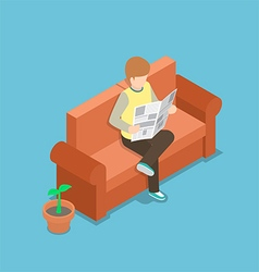 Businessman reading a newspaper on the sofa vector