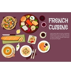 Gourmet lunch of french cuisine flat icon vector