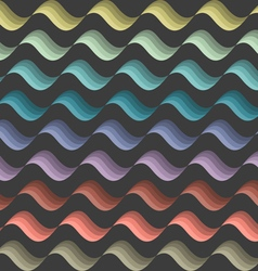 Background with colored stylized waves on black vector image