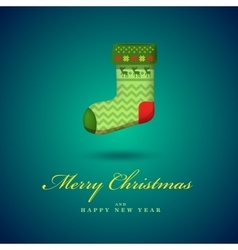 Christmas bright green gift sock blue vector
