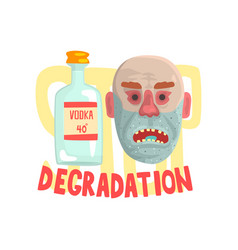 Alcohol degradation bad habit alcoholism concept vector