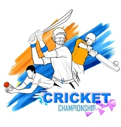 Batsman playing cricket championship vector image vector image