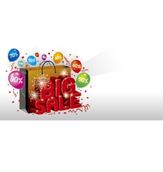 Big sale design with shopping bag vector image vector image