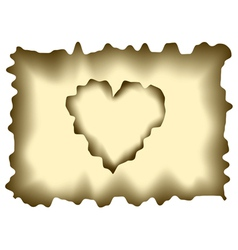 Burnt heart shaped paper vector