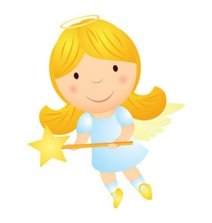 Cartoon angel girl with magic wand vector