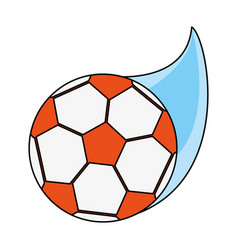 Color image cartoon soccer ball with speed vector