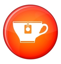 Cup with teabag icon flat style vector image vector image