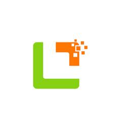 data technology abstract shape logo vector image vector image