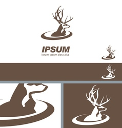 Deer Stag Head sign swoosh label branding template vector image vector image