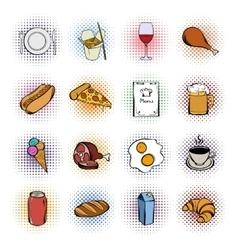 Food comics icons set vector