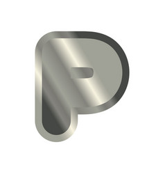 Letter p steel font metal alphabet sign iron abc vector