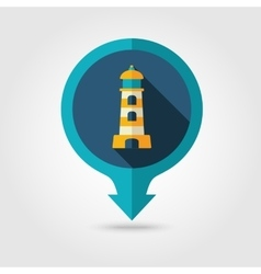 Lighthouse pin map flat icon Summer Marine vector image