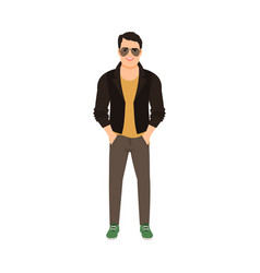 Man in leather jacket vector