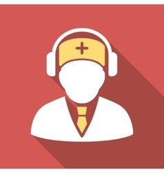 Medical call center flat square icon with long vector