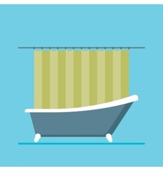Modern shower room with a close curtain vector