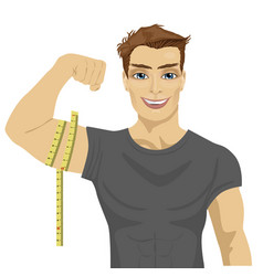 Muscular man measuring biceps with tape measure vector