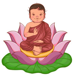 Newborn buddha boy sits in lotus flower vector