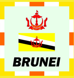 official ensigns flag and coat of arm of brunei vector image