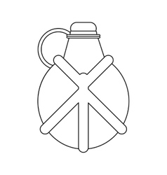 Outline water canteen equipment camping vector