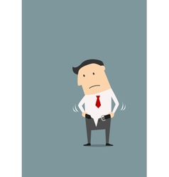 Overweight businessman cannot fasten his pants vector