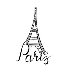 paris word with eiffel tower vector image vector image