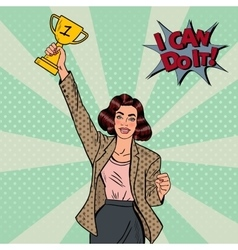 Pop art business woman winner with golden cup vector