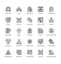 project management line icons set 1 vector image