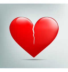 red heart with a crack vector image vector image