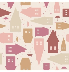 Seamless pattern with houses and umbrellas vector image