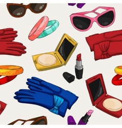 Seamless women fashion accessories wallpaper vector image